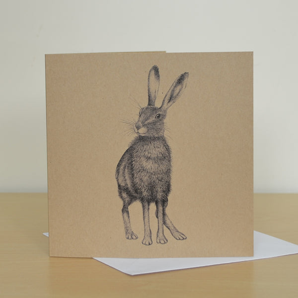Brown Hare artwork greetings card. Blank inside.