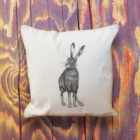 Hare natural cotton throw cushion