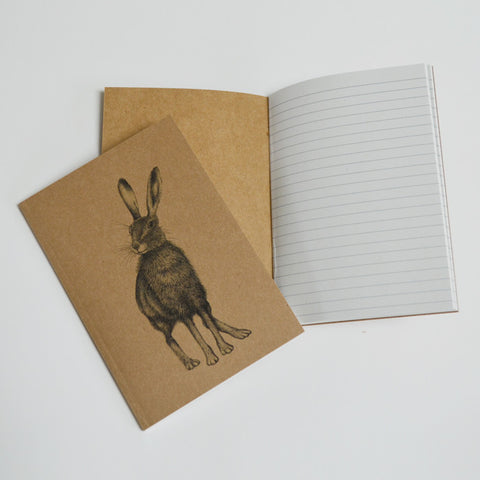 Recycled notebook with Hare illustration.