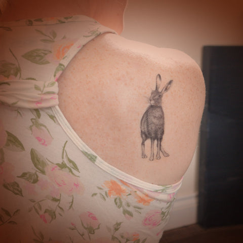 Hare temporary tattoo