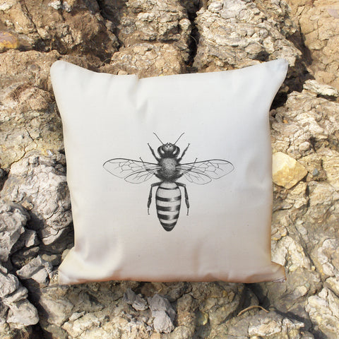Honey Bee natural throw cushion