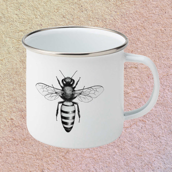 Honey bee enamelled mug
