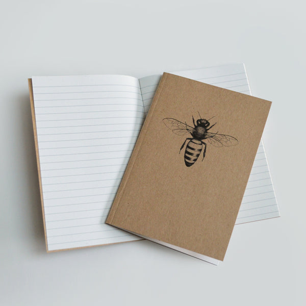 Honey bee art recycled notebook