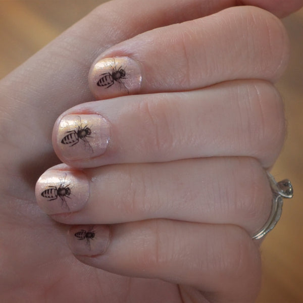Set of 12 mini Honey Bee nail decal transfers.