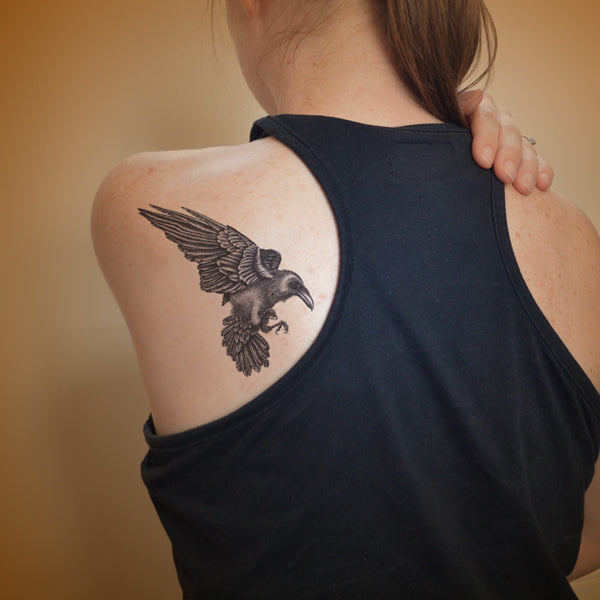 Large Raven temporary tattoo