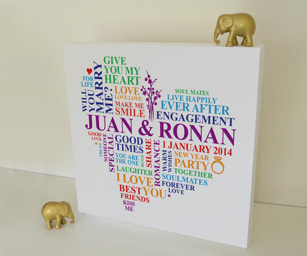 Personalised Engagement canvas gift.