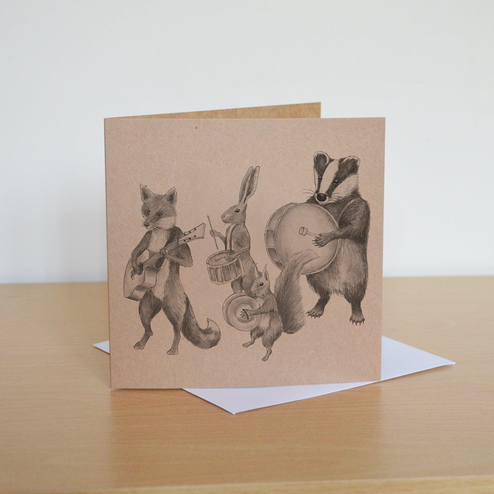 Marching animals greetings card. Musical band of mammals. Blank inside.