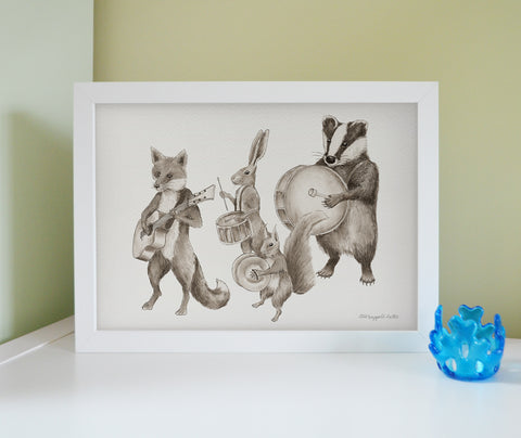 'Lovely Day' Marching animal band framed print