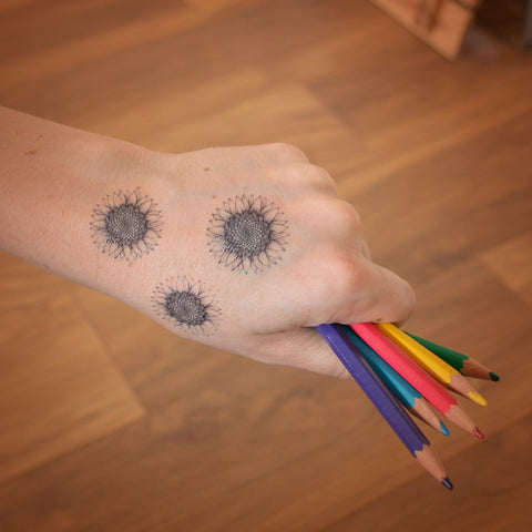Mini sunflower temporary tattoo trio