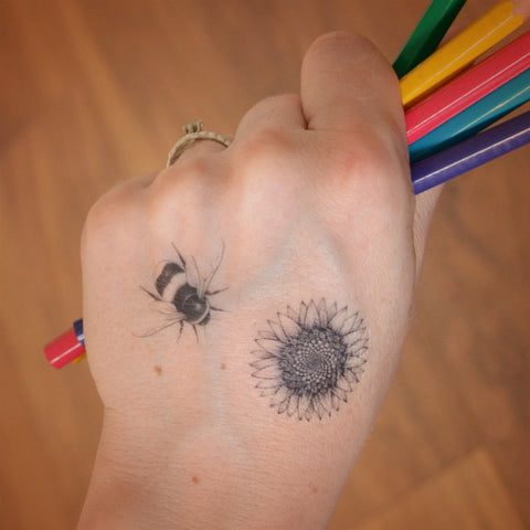 Mini bee and sunflower temporary tattoos