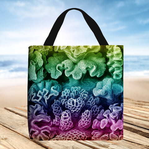 Tote Bag - Hexacoralla by Ernst Haeckel (rainbow coloured)