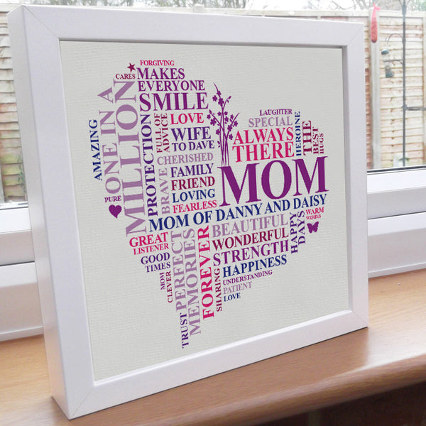 Unique framed Mum heart gift.