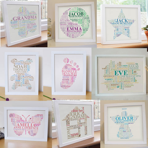 Framed custom design word art. Choose your shape.
