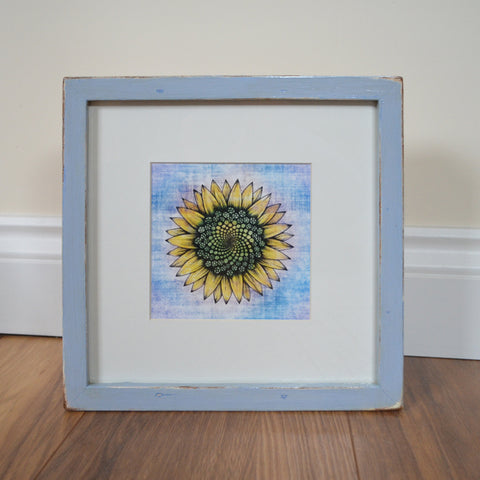 Sunflower print in hand-painted frame