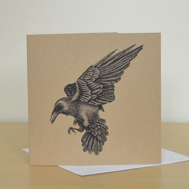 Raven greetings card. Recycled brown, blank inside.