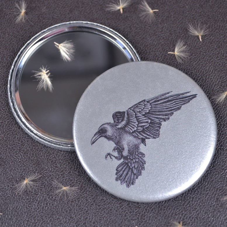 Raven compact pocket mirror