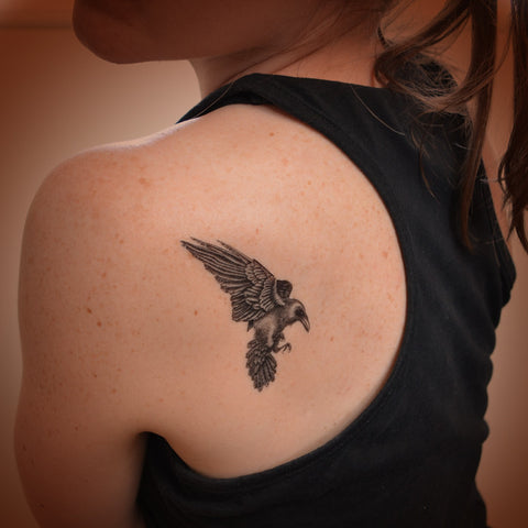 Raven temporary tattoo