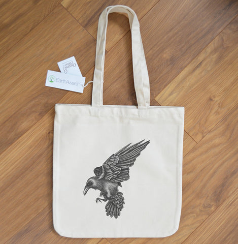 Heavy duty tote bag with Raven design