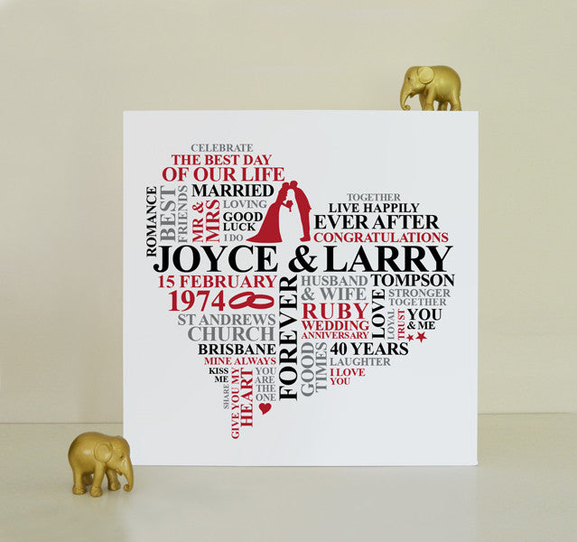 Personalised Ruby 40th Anniversary canvas.