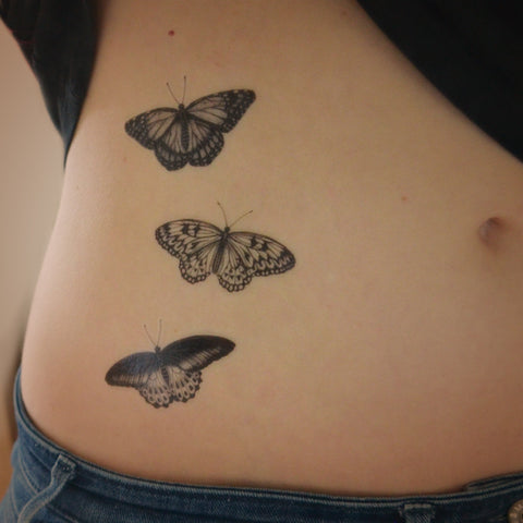 Set of 3 butterfly temporary tattoos - Monarch, Mormon, Tree Nymph