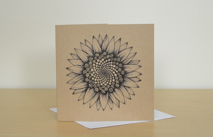 Recycled greetings card with Sunflower art.