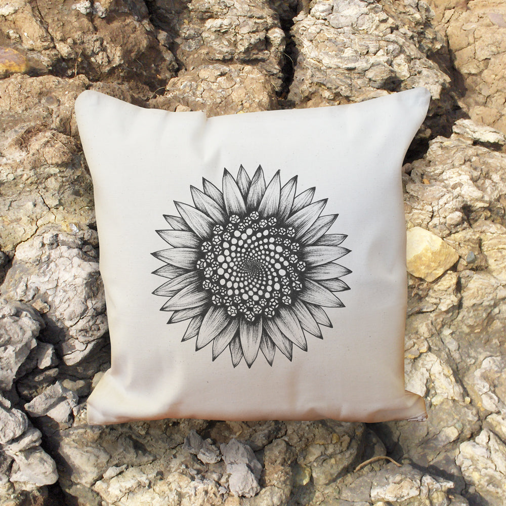Sunflower natural cotton cushion