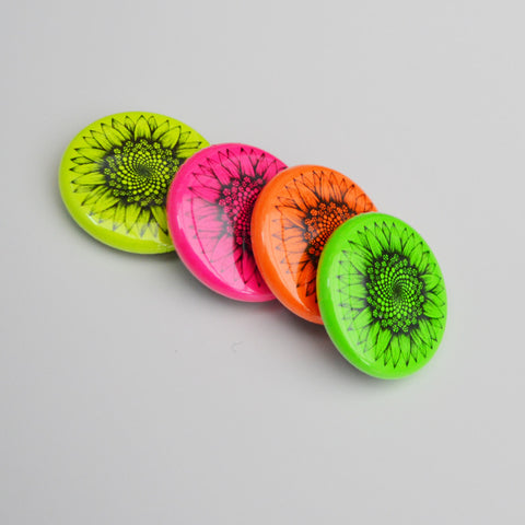 Neon sunflower magnets - set of 4.