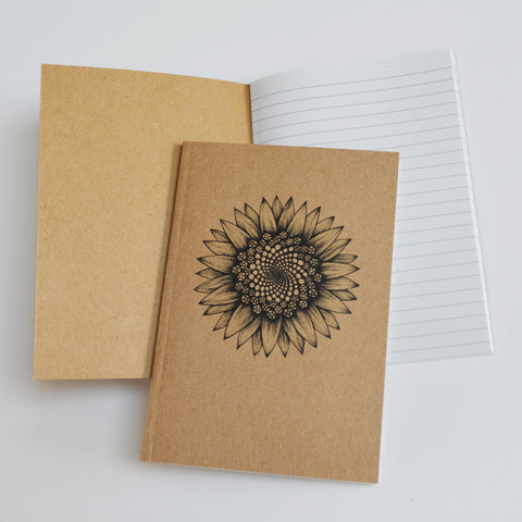 Recycled notebook with Sunflower spiral art.
