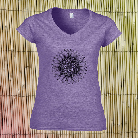 Hand-printed Women's Purple Sunflower T-Shirt