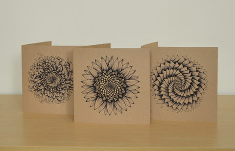 Set of 3 Recycled greetings cards illustrated with plants & flowers.