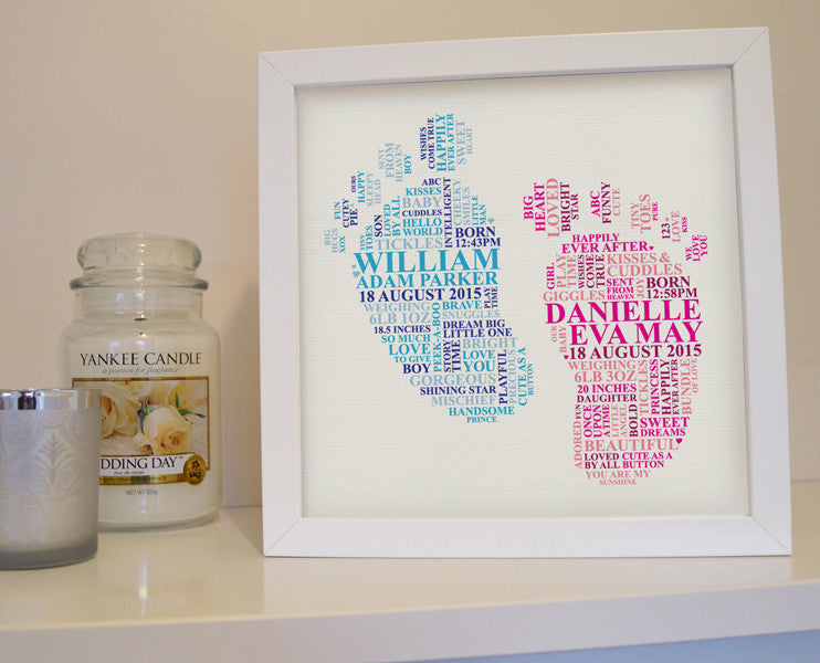 Personalised Twin S Footprint Frame Ali Chappell Bates Art