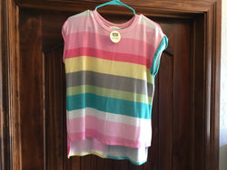 Pink/Teal Striped Short Sleeve Top