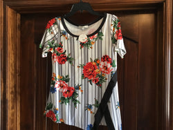 Ivory Charcoal Floral Top