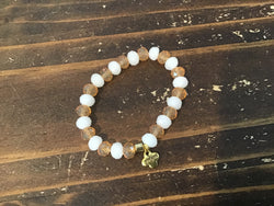 Erimish Peach & White Beaded Kids Bracelet