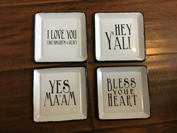 Square Enamel Dish w/ Saying