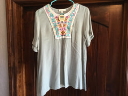 Sage Aztec Embroidered Top