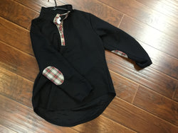 Black Plaid Patch Pullover