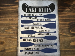 Metal Wall Sign Lake Rules