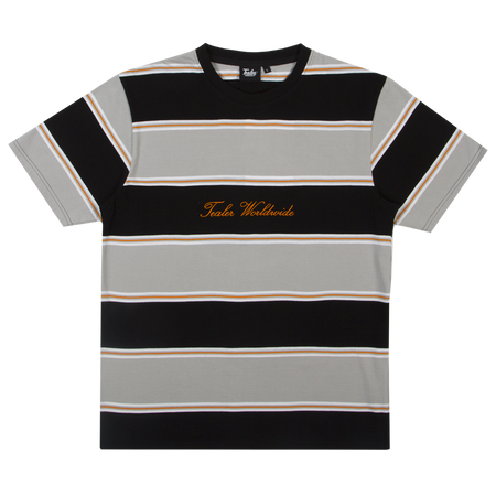 Calligraphy Striped Tee Grey