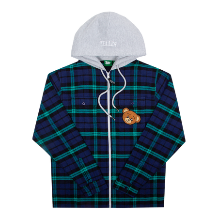 Hooded Shirt Tartan Bear