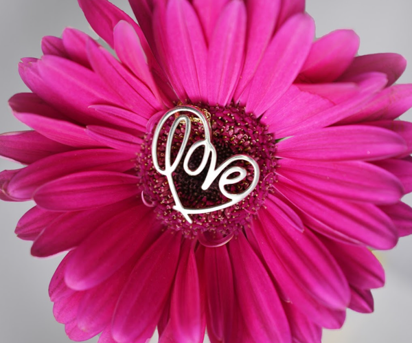 Silver Heartlines Love Pendant in the center of a bright pink Gerber daisy