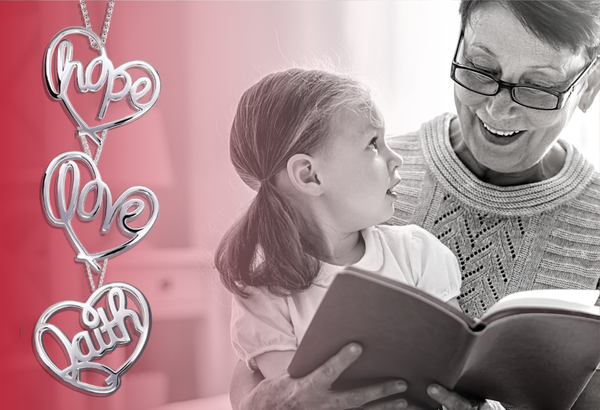 black and white image of a grand mother and grand daughter, on the left there is an overlaying red gradient with three heart shaped pendants. one reads hope, one reads love, one reads faith.