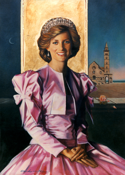 a painting of princess diana in a pink satin dress wearing a tiara. she is in front of a golden banner and the night sky.