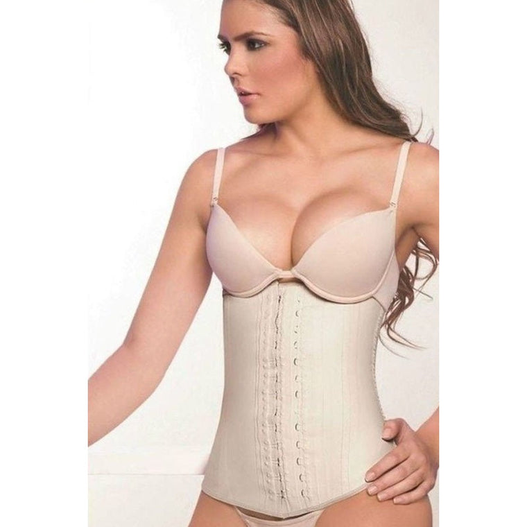 Kate, Latex Waist Trainer W/ Steel Bone Support (Nude)