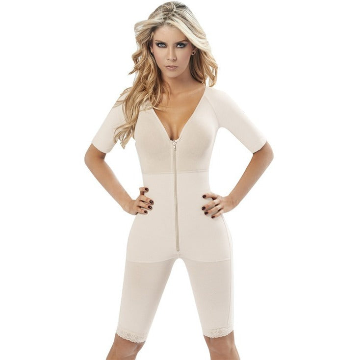 Marilyn, V-Neck Short Sleeve Body Shapers W/ Zipper