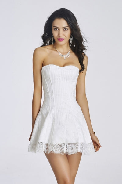 Sexy Corset White Lace Overbust Plastic Boned  Dress