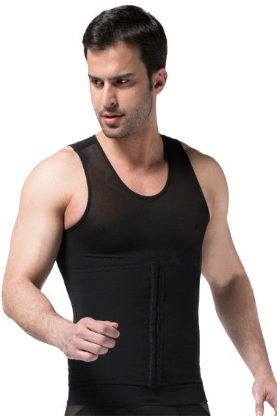 Men's Tummy Control Waist Shaper Vest (Black)