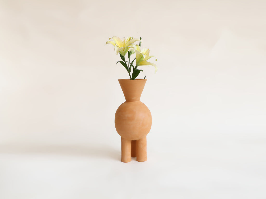 V-neck Three Legged Terracotta Vase