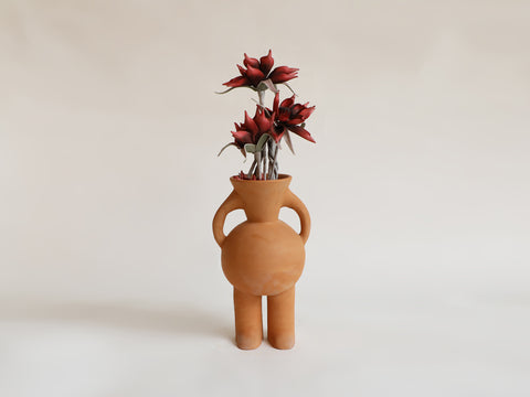 V-neck Two Legged Terracotta Vase