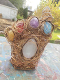 Copper CK Gauntlet w/ 6 polished gemstones - Sculpture - Home Decor